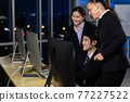 Business team working overtime late at night in call center office. Concept for business at night. 77227522