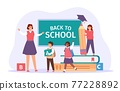 Back to school. Happy teacher meet students with bags, books and pencil. Children in classroom. First day of study, education vector concept 77228892
