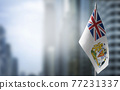 A small flag of British Antarctic Territory on the background of a blurred background 77231337