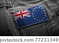 Tag on dark clothing in the form of the flag of the Cook Islands 77231349