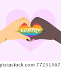 LGBTQ concept. Different skin colors making heart shape by hands. 77231467