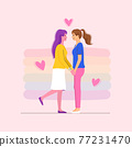 Two women holding hands on romantic date. LGBTQ+ community. 77231470
