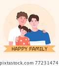 Vectors of LGBTQ family concept. Gay couple parent character and and their child. 77231474