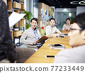 a team of young asian entrepreneurs meeting in office discussing ideas for new business 77233449