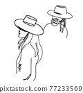 Abstract one line woman. A girl in a hat contour drawing. Modern minimal art illustration. Elegant continuous line poster. 77233569