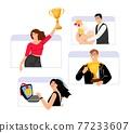 Happy winners, online award concept 77233607