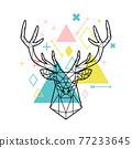 Geometric head of deer 77233645