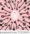 Ornate lock and keys 77233651