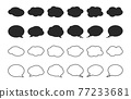 Bubble with clouds silhouettes and thin line set. Speech symbol talk and thinking. 77233681