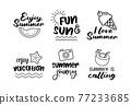 Summer labels set. Retro hand drawn elements for summer vintage style. 77233685