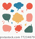 Speech bubbles set. Various talk balloon shapes in vintage style with grunge texture. Hand-drawn infographic Vector collection. 77234679