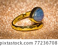 Gold ring with kyanite 77236708