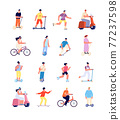 Cartoon people ride. Man on bicycle, urban lifestyle activity. Isolated person riding bike, sport travellers on electric motorbike utter vector characters 77237598
