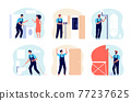 Home masters work. Professional master, repairman with equipment. Engineers or carpenter, person with repair tools. Men builds utter vector concept 77237625