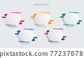 colorful hexagon infographic vector template with 5 options. Can be used for web, diagram, graph, presentation, chart, report, step by step infographics. Abstract background. 77237678