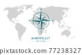 world map with compass wind rose wanderlust travel 77238327