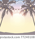 summer holiday design sea at sunset with fairy light and palm trees 77240108