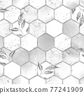 Marble hexagon seamless texture with silver leaves. Abstract background 77241909