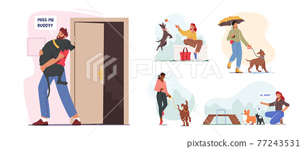 Set of People Spend Time with Pets at Home and Outdoors. Characters Walking and Playing with Dogs, Relaxing Open Air 77243531