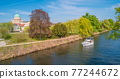 Panoramic view of historical downtown in Potsdam with river Havel and Saint Nikolai cathedral at blue sky in Spring, Germany 77244672