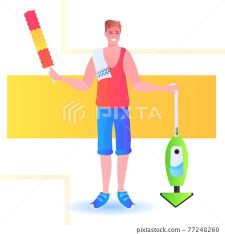father using vacuum cleaner man cleaner doing housework cleaning concept full length 77248260