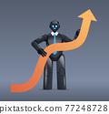 black robot holding upward arrow business growth achievement success artificial intelligence concept 77248728