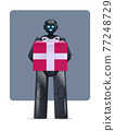 black robot holding wrapped gift box birthday or holiday celebration artificial intelligence concept 77248729