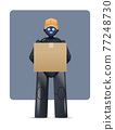 black robot courier robotic deliver holding cardboard box delivery service artificial intelligence concept 77248730