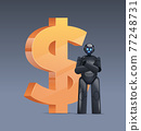 robot near dollar icon saving money getting profit high income investment earning financial growth artificial intelligence 77248731