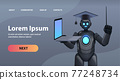 black robot teacher in graduation cap holding laptop online education artificial intelligence concept 77248734