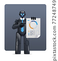 modern black robot analyzing statistics diagram financial data analyzing artificial intelligence technology concept 77248749