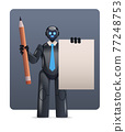 black robot cyborg holding notepad and pencil robotic character artificial intelligence technology concept 77248753