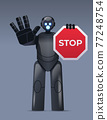robot cyborg holding red stop sign robotic character showing no entry hand gesture artificial intelligence 77248754