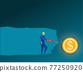 Businessman use Drill machine underground for discovering dollar coin vector illustrator 77250920