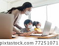 Asian Young Teacher with little boy in protective face masks using laptop 77251071