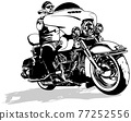 Motorcyclist on Motorcycle Drawing 77252556