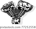 Black and White Motorcycle Engine 77252558