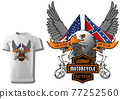 T-shirt Design with Eagle Head and Flags 77252560