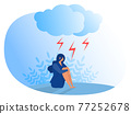 Woman suffering from depression. Anxiety, emotional disorder concept Flat vector illustrator 77252678