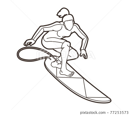 Surfing Sport Female Player Cartoon Outline Graphic Vector 77253573