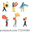 Set of people carrying Ketogenic diet food, cartoon vector illustration isolated. 77254384