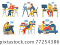Students or teachers study or teach english language online stay at home. 77254386