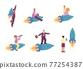 Business people launching and riding on rocket, vector illustration isolated. 77254387