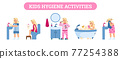 Vector banner with set of daily health and hygiene kids procedures in bathroom 77254388