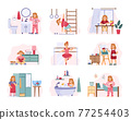 Children schedule of daily activity, cartoon vector illustration isolated. 77254403