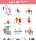 Daily children routine infographic set cartoon vector illustration isolated. 77254407