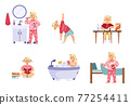 A set of childhood daily morning activities of cute little child girl. 77254411