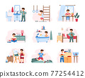 Set of childhood daily activity from morning to evening for child boy. 77254412