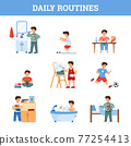 Daily boys routine hygiene and activity, cartoon vector illustration isolated. 77254413
