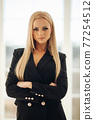 Posh confident blonde woman in black jacket. 77254512